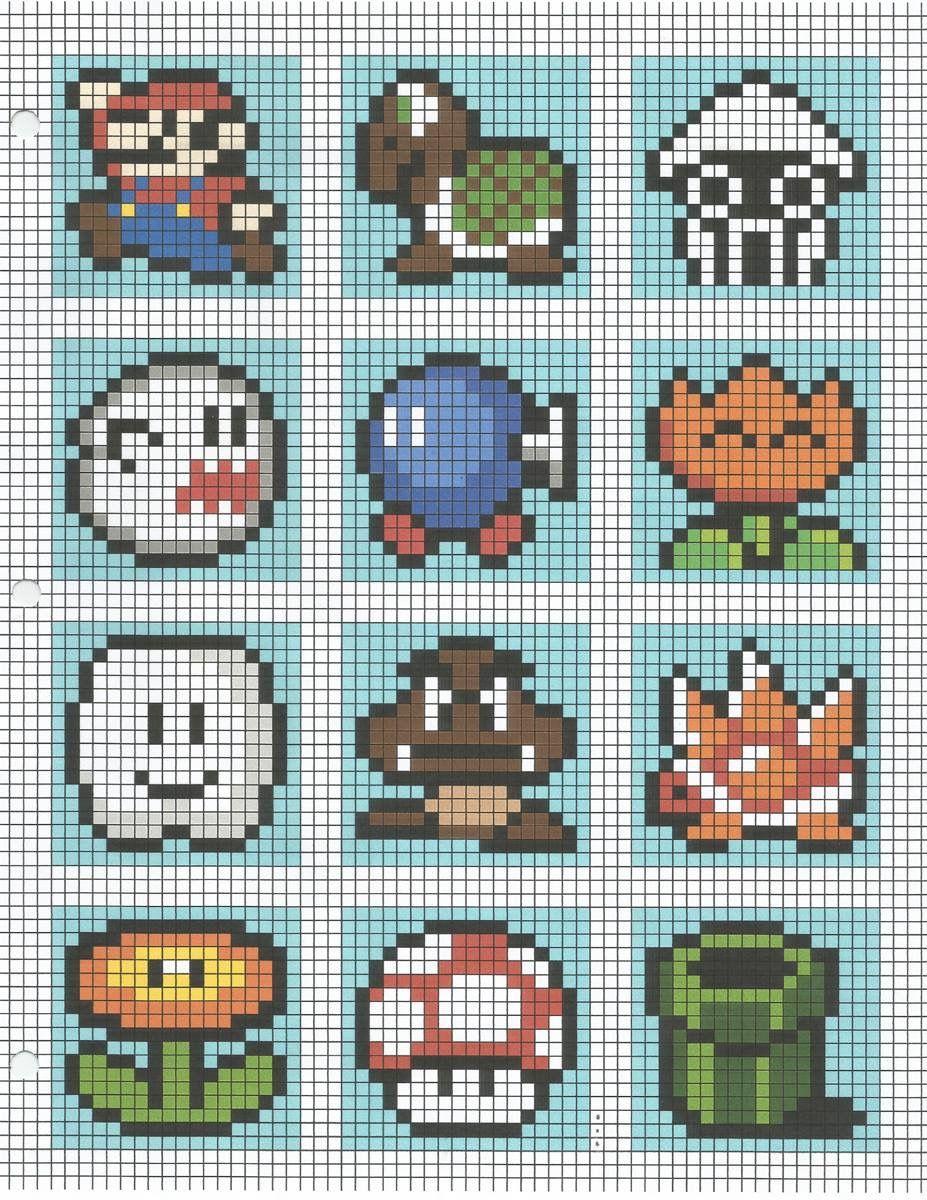 Mario Bros Cross Stitch Patterns Pixel Crochet Mario