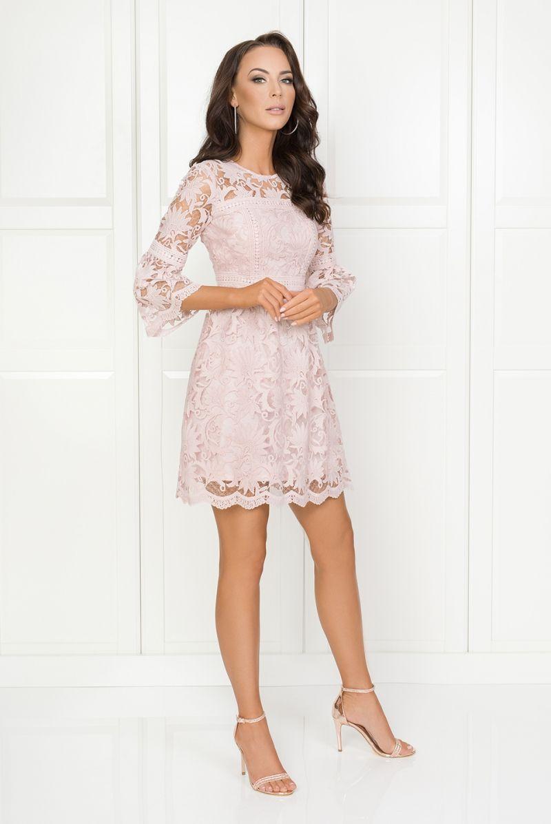 Madlen Koronkowa Sukienka Pudrowy Roz Midi Zakrywajaca Ramiona279 Beige Evening Dresses Dresses Long Lace Maxi Dress