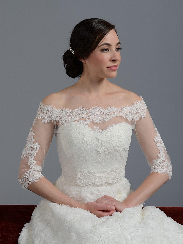 Off-Shoulder Alencon Lace Bridal Bolero Wedding jacket shrug WJ011 ...