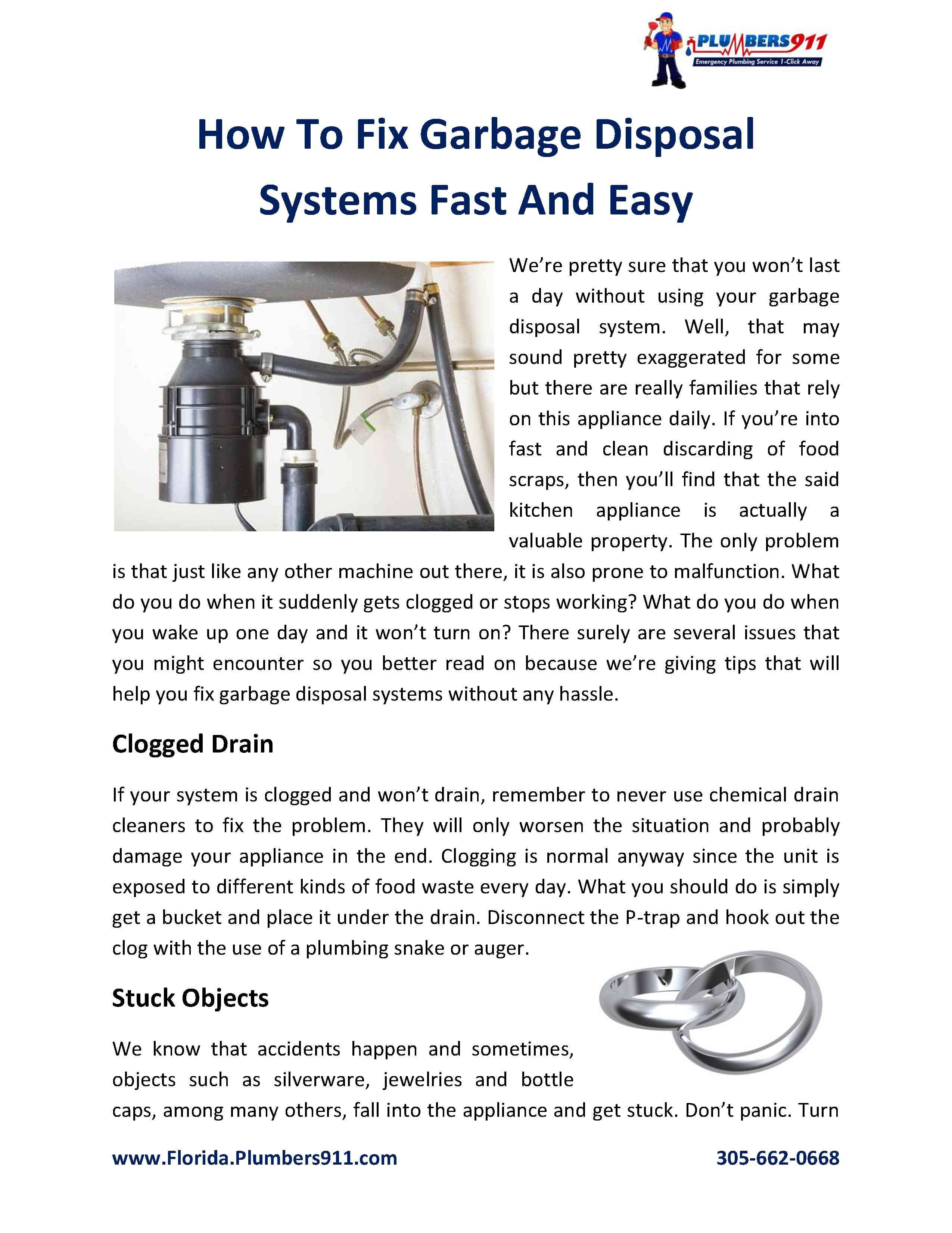 How to fix garbage disposal systems fast and easy fix
