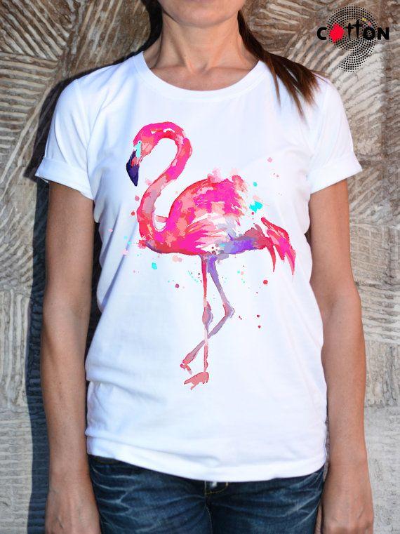 New Designe Flamingo Cotton Painted Tshirt Art Animal By