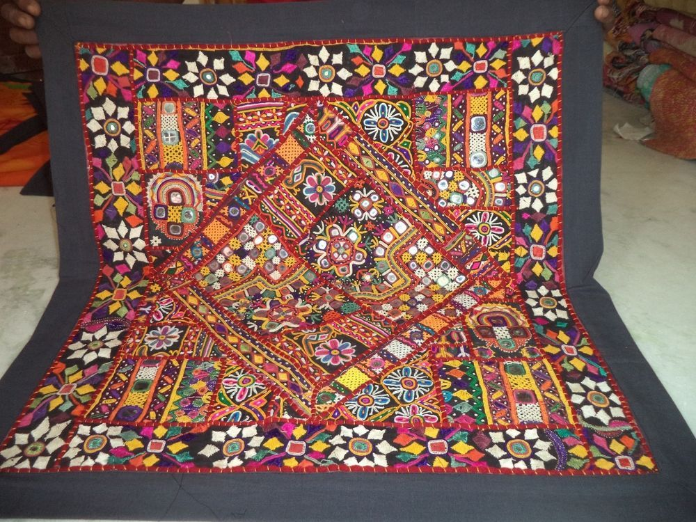 Indian Handmade Decor Wall Hanging Vintage Cotton Embroidered Patchwork Tapestry Handmade Handmade Decorations Wall Hanging Vintage Cotton