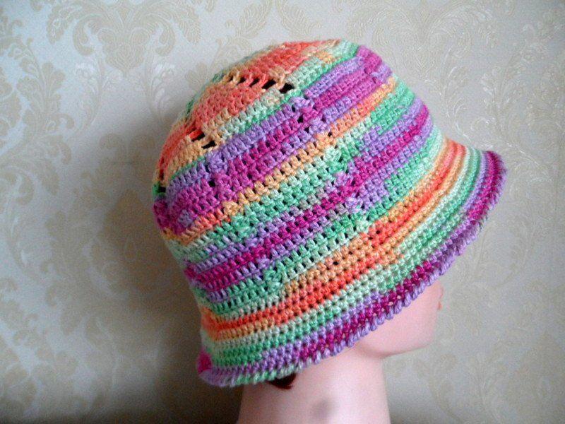 97e4aa30485cc Cloche hat-Multi color bamboo crochet hat-Multi color crochet sun hat-Summer  holiday hat-Summer beach hat