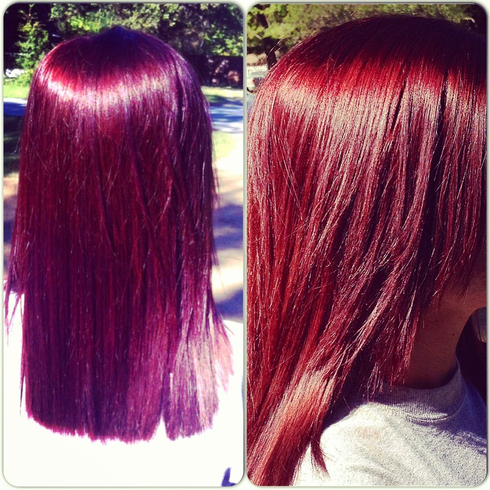 Red and hair purple dye mixed photo images