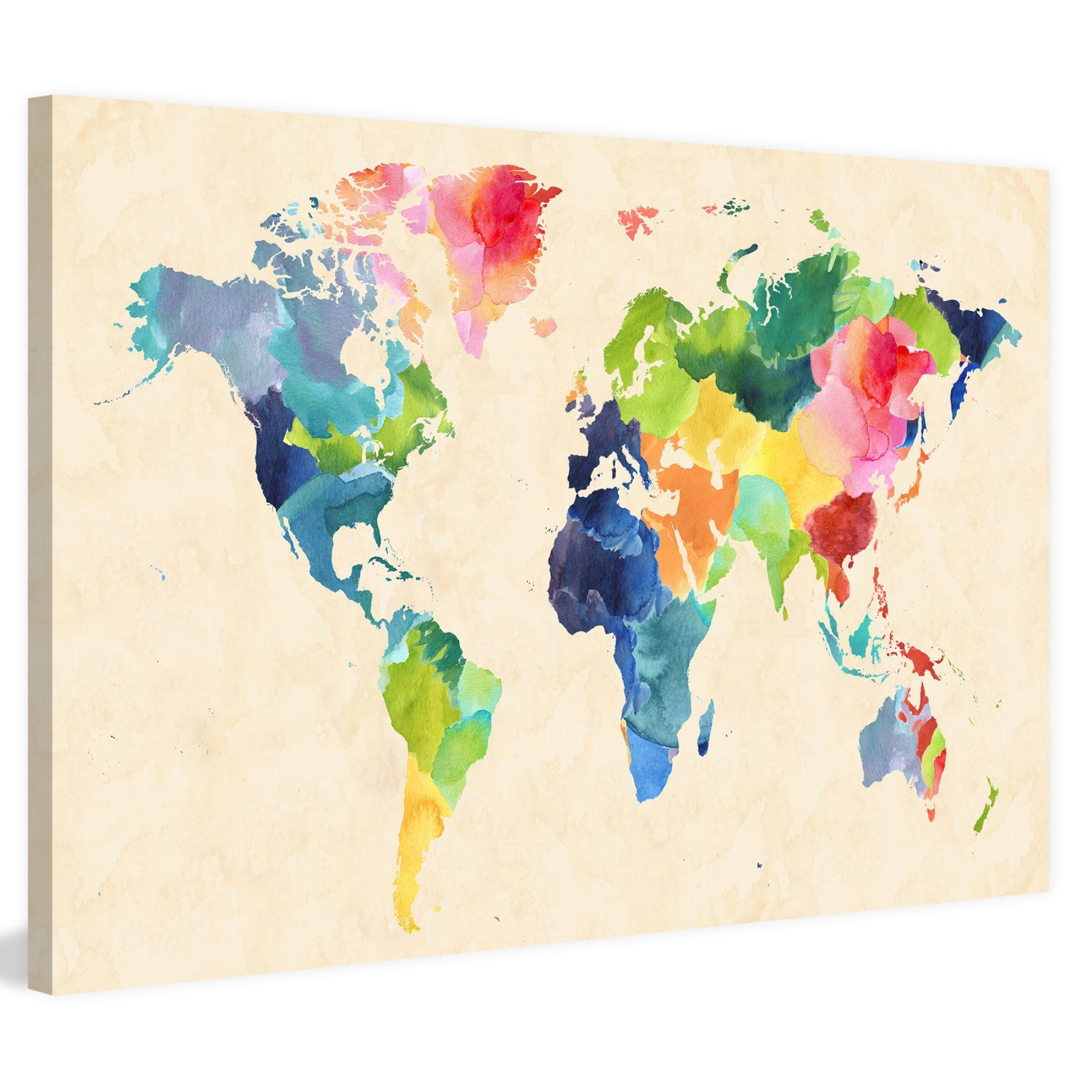 Marmont hill watercolor map bold painting on wrapped canvas mh marmont hill watercolor map bold painting on wrapped canvas an accurate map of the world gets a colorful makeover in the design of the marmont hill gumiabroncs Image collections