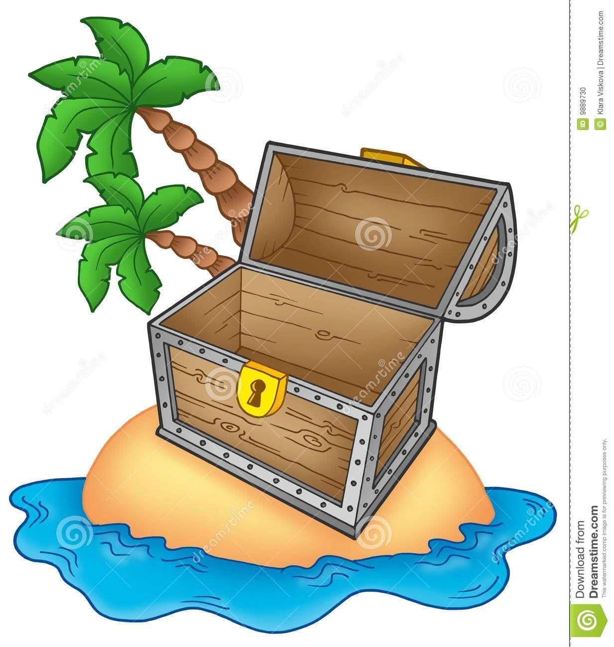 Pirate ouvert d 39 le d 39 illustration de couleur de coffre - Dessin de coffre de pirate ...