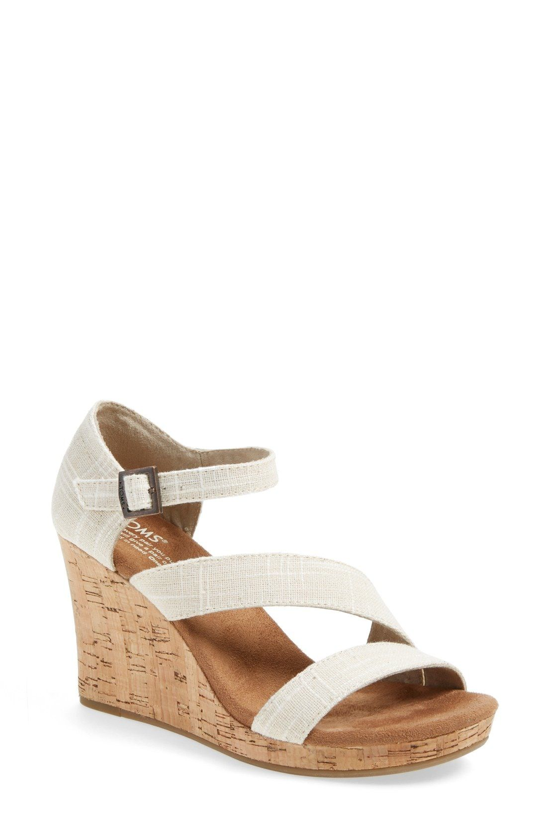 Clarissa Wedge Sandal Neutral Straps Woven From A Cotton And Linen Blend Angle Across A Lightweight Sanda Strappy Sandals Wedge Wedge Sandals Womens Sandals