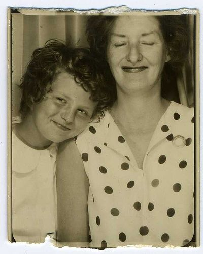 ** Vintage Photo Booth Picture **  Mother and Daughter love