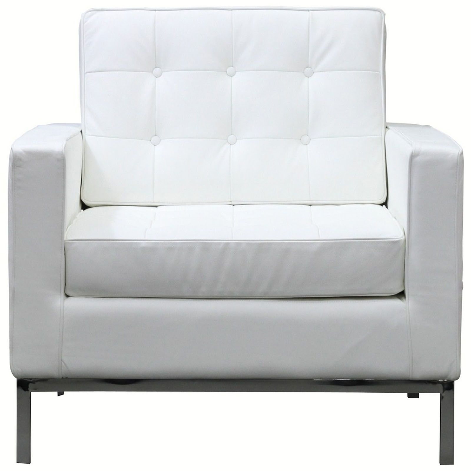 White Modern Chair Bateman Leather Armchair Living Room Decor White