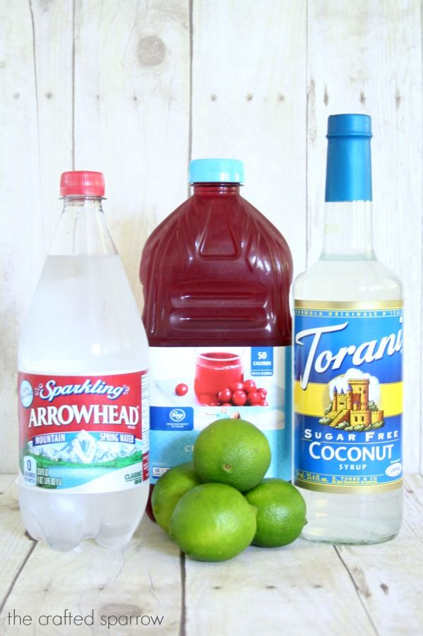 Cranberry Coconut Lime Sparkling Drink Made With Arrowhead Sparkling Water Sparkling Drinks Drink Syrups Coconut Lime