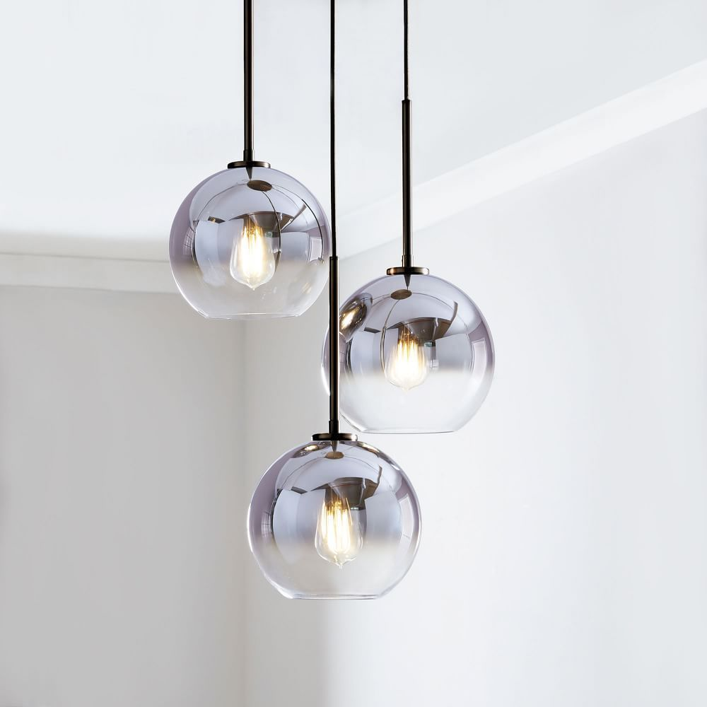 Sculptural Glass Globe 3 Light Chandelier Small Metallic Ombre