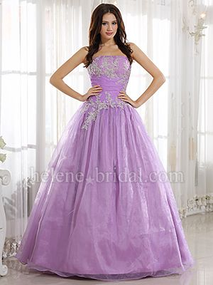 8b814f492f A-Line Ball Gown Princess Strapless Long   Floor-Length Satin Organza Prom  Dress - PD4630 - US  209.99 Really like it