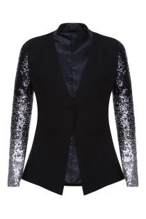 Black & Silver Sequin Sleeved Blazer #silvesteroutfitdamen