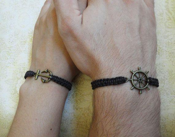 Couples Bracelet Anchor And Ship Wheel Bracelet Love Bracelet Set