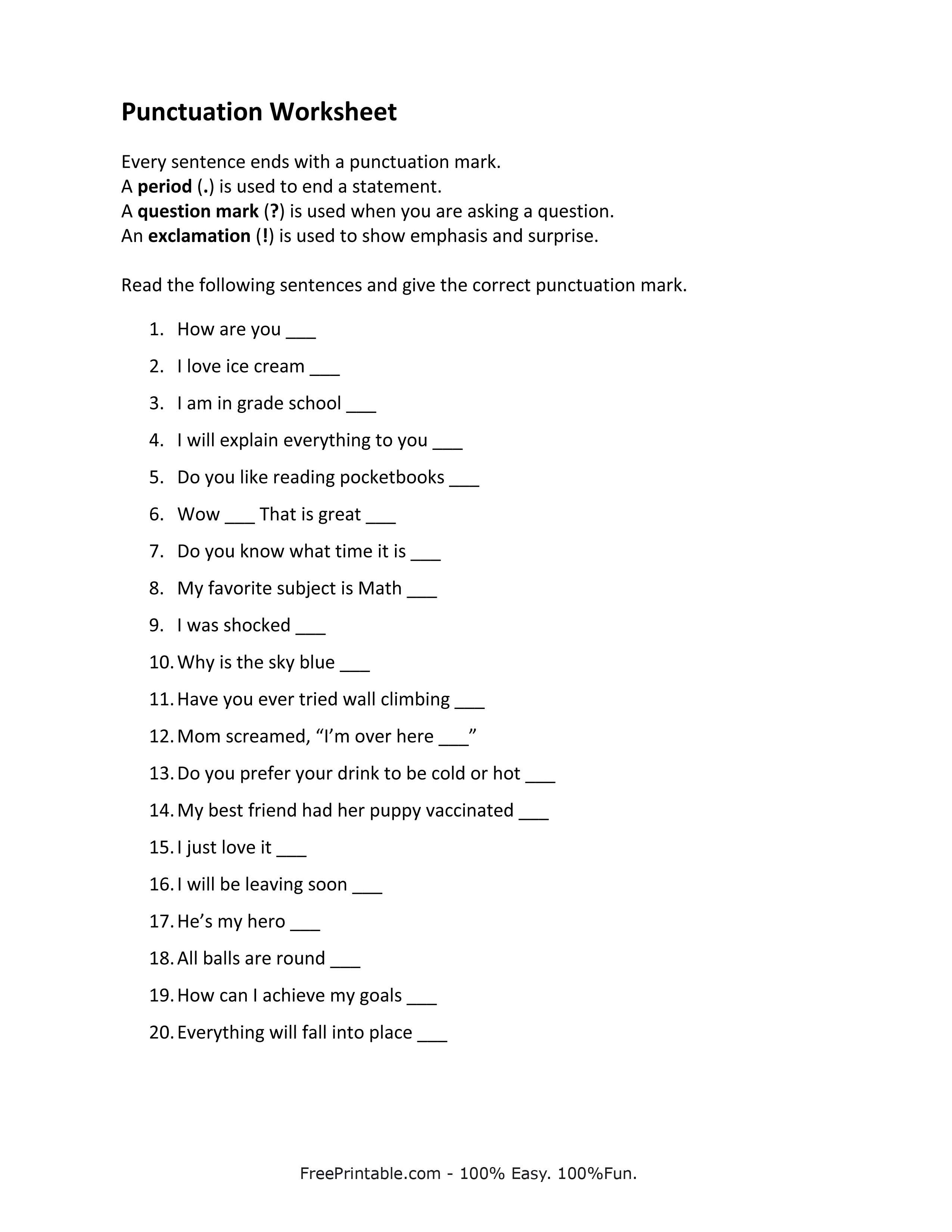 Customize Your Free Printable Punctuation Worksheet Class