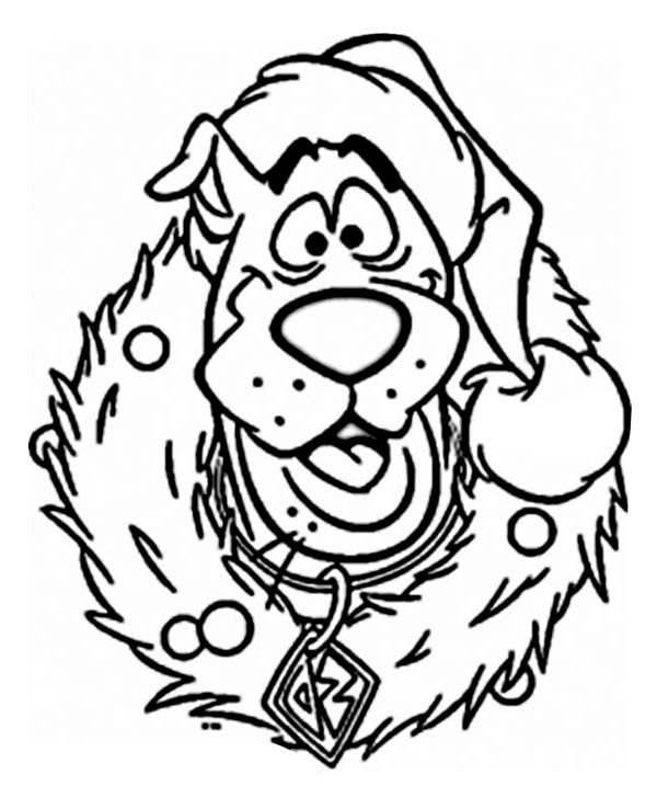 Scooby Doo Wearing Christmas Wreath On Christmas Coloring Page Christmas Coloring Sheets Free Christmas Coloring Pages Kids Christmas Coloring Pages