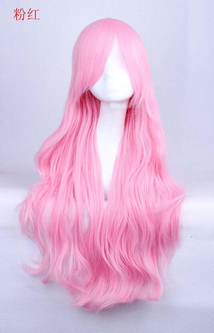 70cm new beautiful pink long cosplay party wig rw136 with