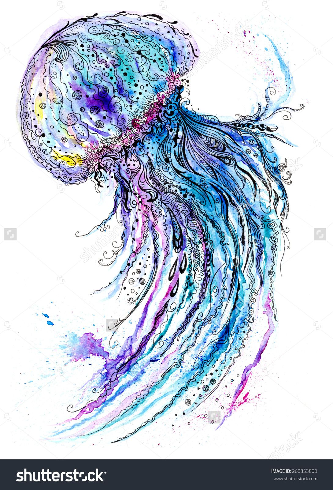 Jelly Fish Watercolor And Ink Painting Creative Sea Life Art