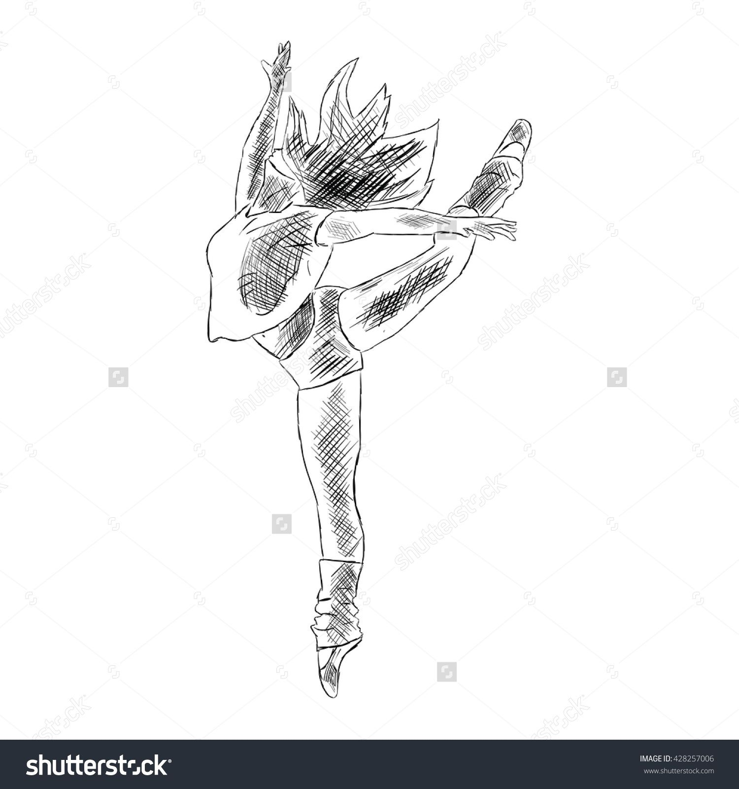 Hip Hop Woman Dancer Vector Sketch Isolated On White