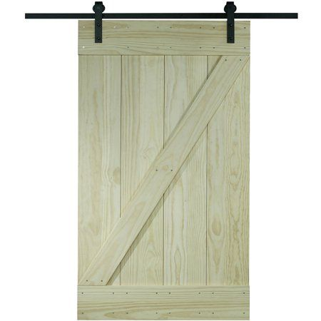 Wood Barn Door Kit 24 Inch X 80 Inch Unfinished Pine Z Design Size 24 Inch X 81 Inch Brown Wood Barn Door Sliding Door Hardware Barn Style Doors