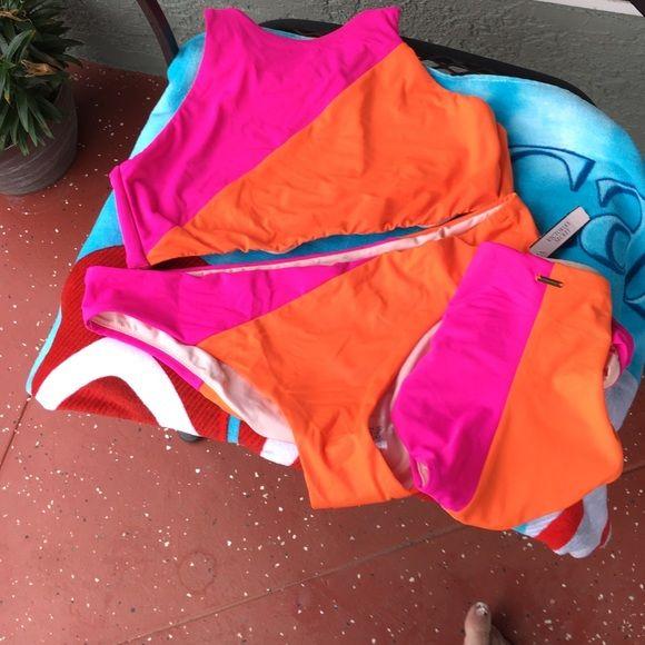 Victoria Secret 3 piece bikini color block hightop Hightop