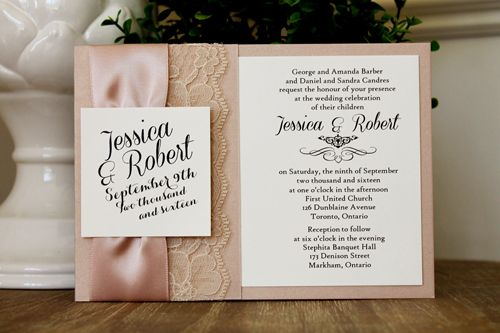 Elegant lace Wedding Invitation from www.stephita.com using Blush Pearl paper as wedding card with cream lace and satin ribbon.