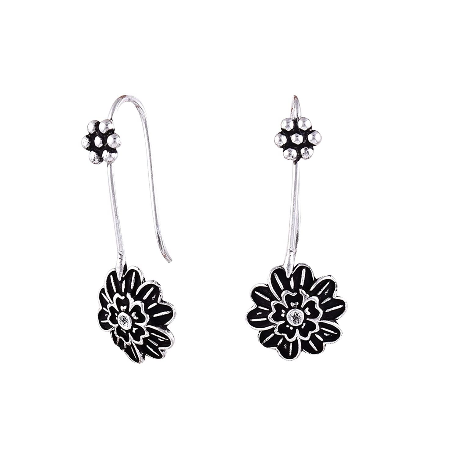 Black Oxidize Earring Sterling Silver Earrings,Fashionable 1 Pair Floral Round Shape Beautiful Design Silver Black Oxidize Earring