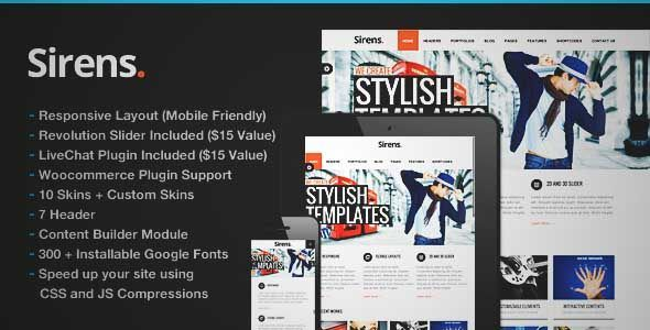 Download and review of Sirens Multi-Purpose Stylish Business Theme, one of the best Themeforest Corporative themes