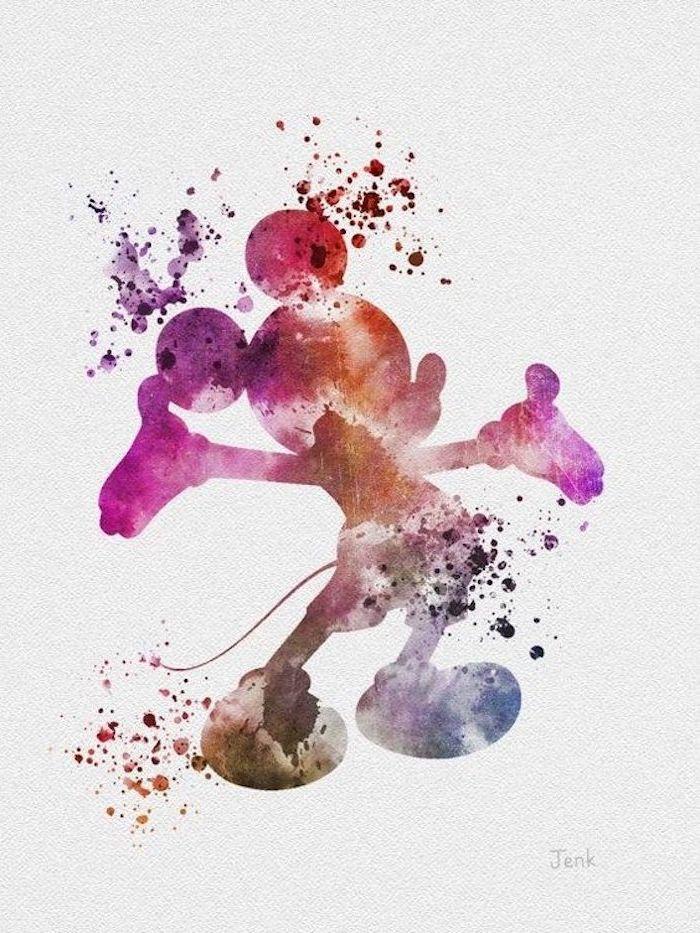 Mickey Mouse Silhouette mit Pastellfarben zeichnen, schönes Bild zum Nachzeichnen