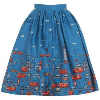 size 20 please Adalene' Blue London Traffic Print Swing Skirt - from Lindy Bop UK