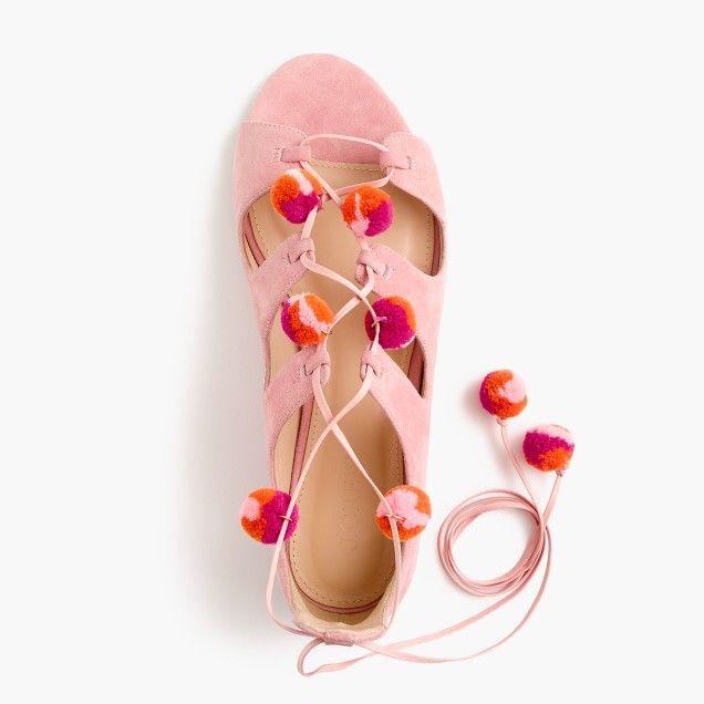 0c5efc773531 Suede caged gladiator sandals with pom-poms