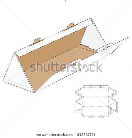 Triangular Box With Die Cut Template And Layout Packaging Box