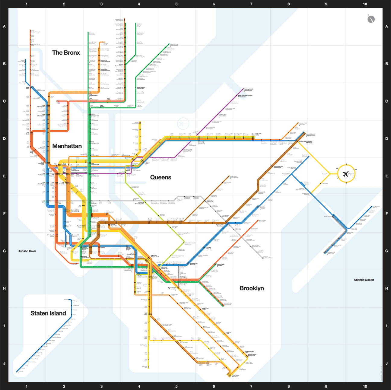 New York Subway Map G Line.Pin By Patrick On Massimo Vignelli Map Design Observer Subway Map