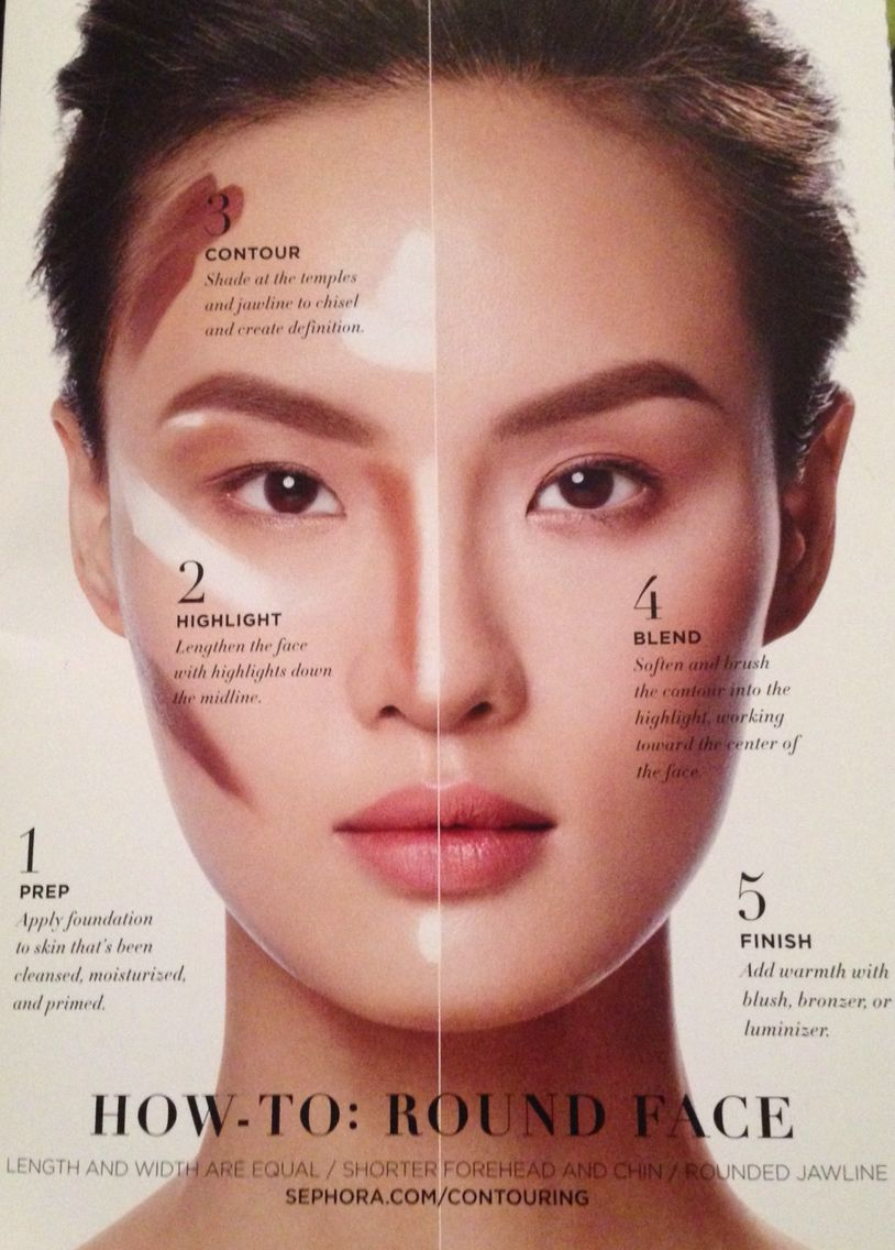 Contour Round Face. How To From Sephora.