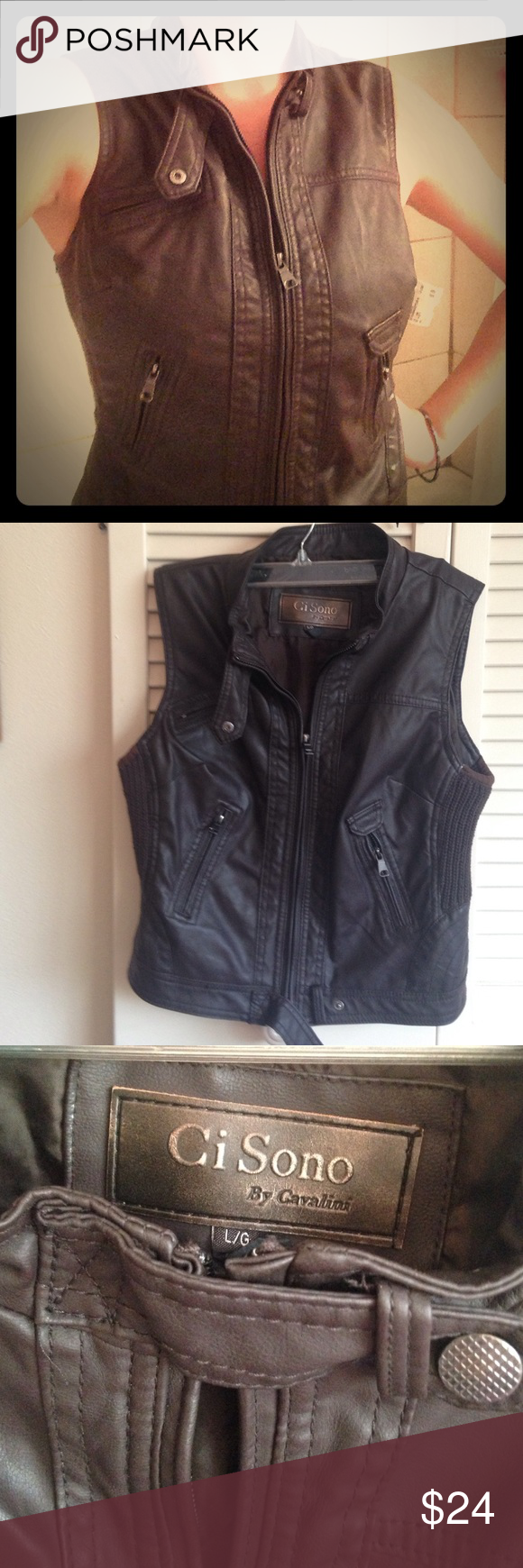 Awesome brown faux leather vest Comfortable, durable, polyvinyl. Deep brown with zipper pockets Ci sono by cavalini Jackets & Coats Vests