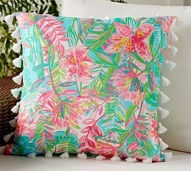 Indoor Outdoor Lilly Pulitzer Printed Pillow Jungle Blue