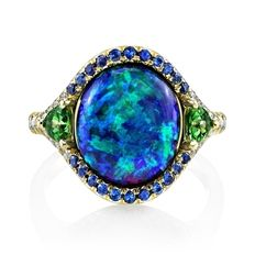 Black Opal Ring With Tsavorites and Sapphires