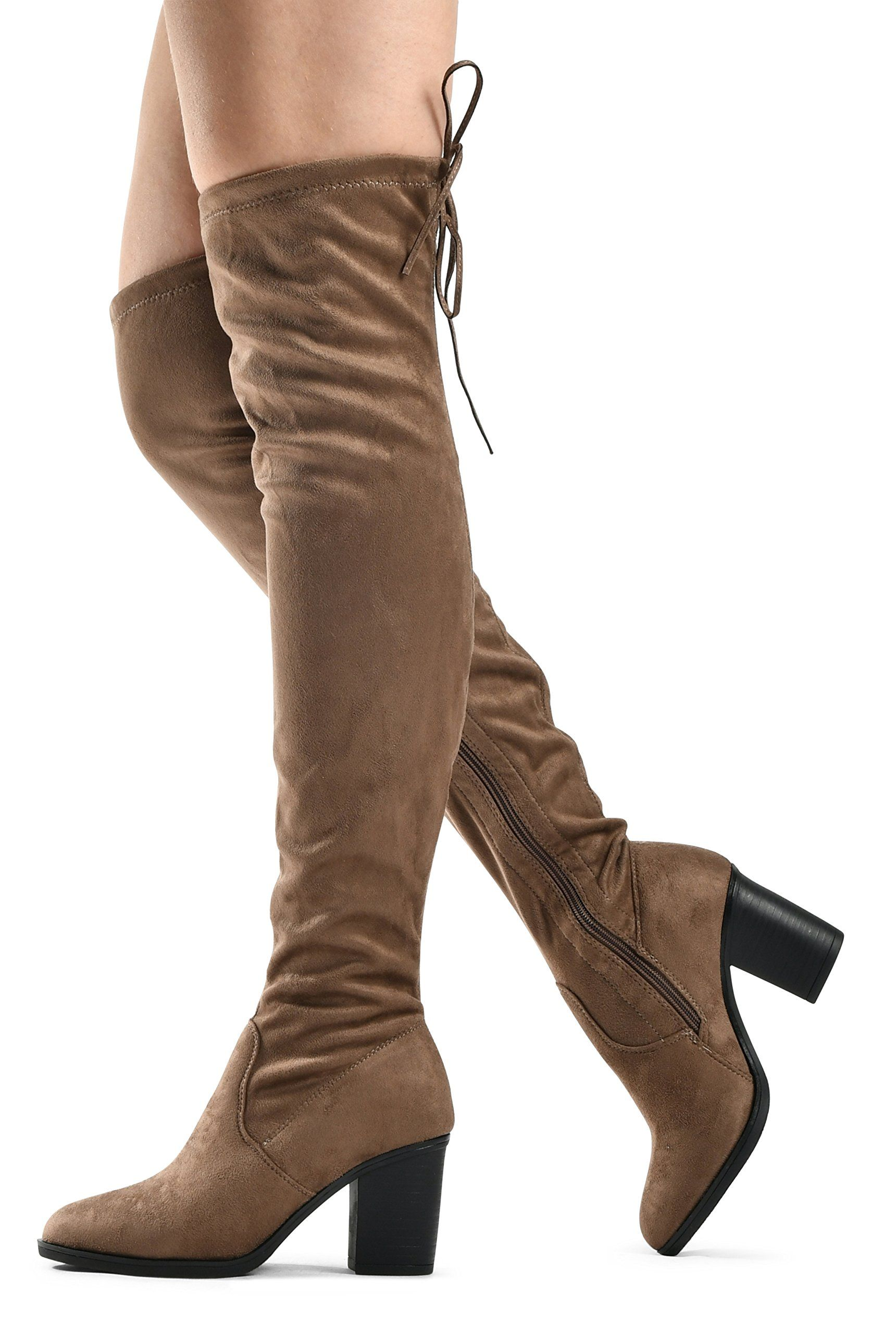 653a5b553e1 Womens Over The Knee Verona Low Stacked Block Chunky Heel Pointy ...
