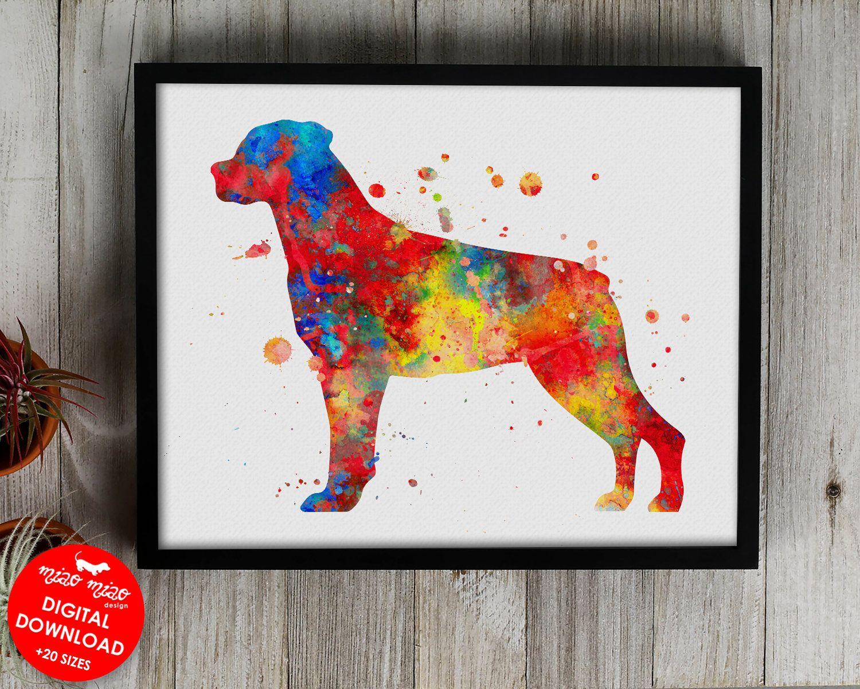 Rottweiler Print Watercolor Art Printable Dog Poster Dog