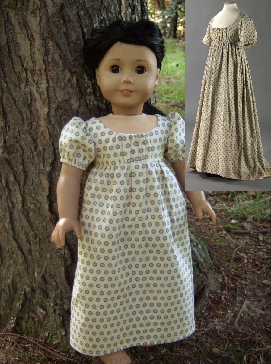 Cream Polka-dot 1800 Regency Dress Replica for American Girl Dolls ...