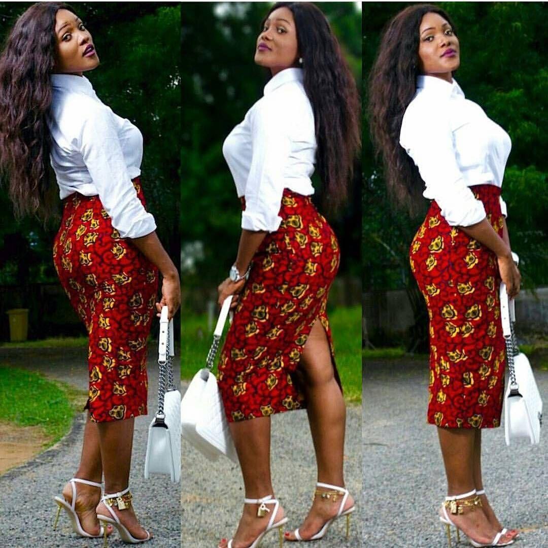 White Shirt On Ankara Pencil Skirt | Trendy Cooperate Looks | Pinterest | Work Outfits ...