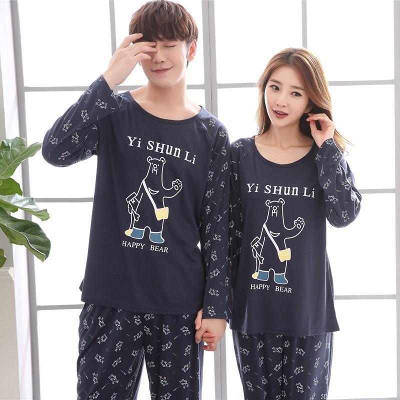 Plus Size Couples Cotton Pajamas Sets Women Autumn Long Sleeve Cute Cartoon Pyjama Pijama Men Lounge Homewear Clothing In 2020 Pajama Set Women Cotton Pajama Sets Cotton Pajama Set Women