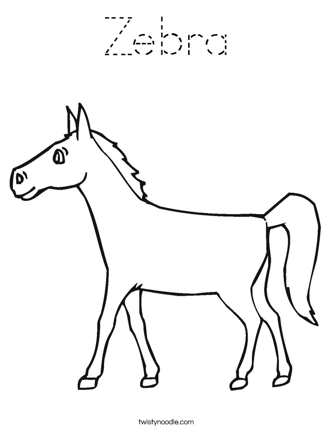 Zebra Coloring Page Tracing Twisty Noodle Zebra Coloring Pages Horse Coloring Pages Coloring Pages