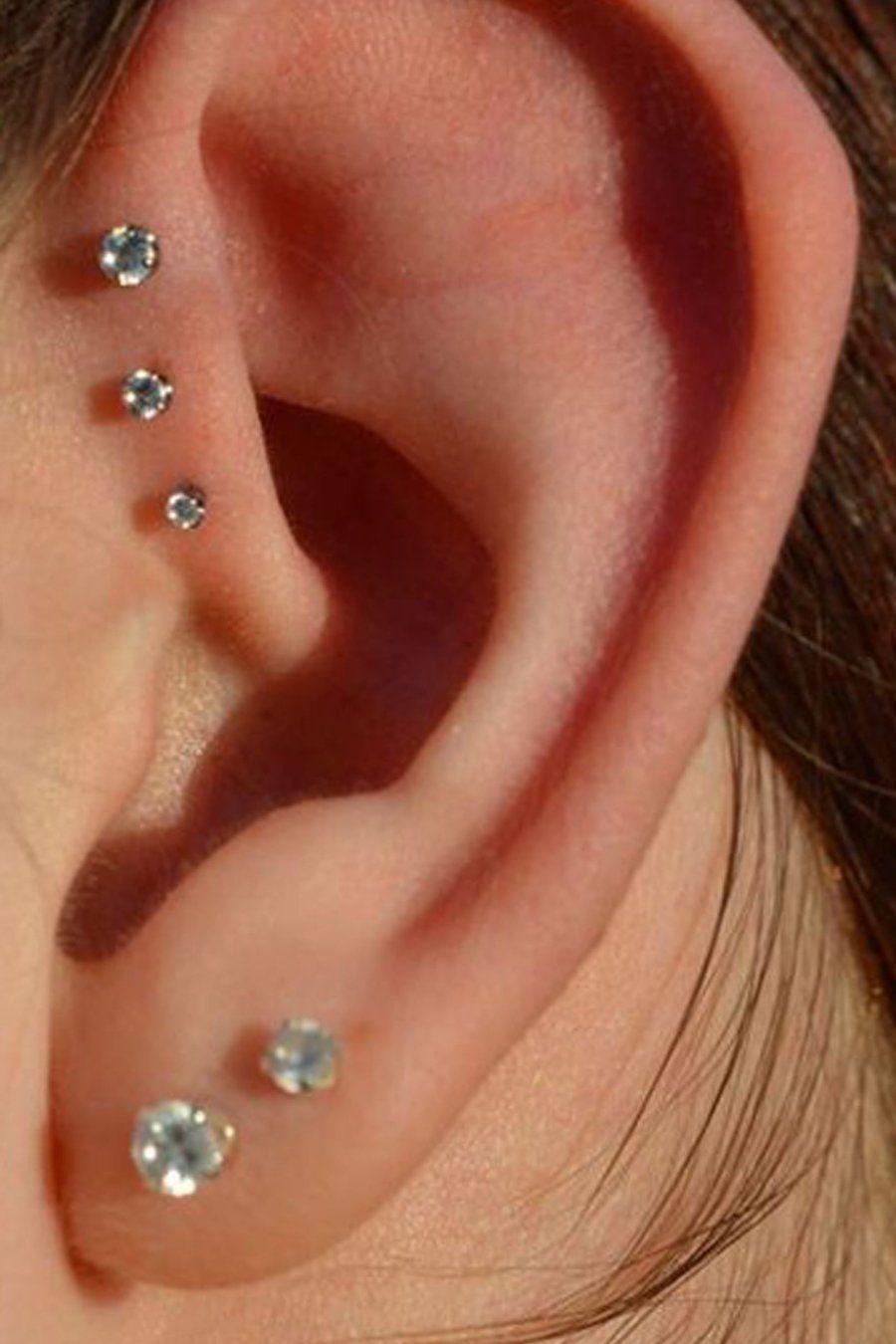 Triple Forward Cartilage Tragus Helix 16g Stud Earring Jewelry Piercing Vintage