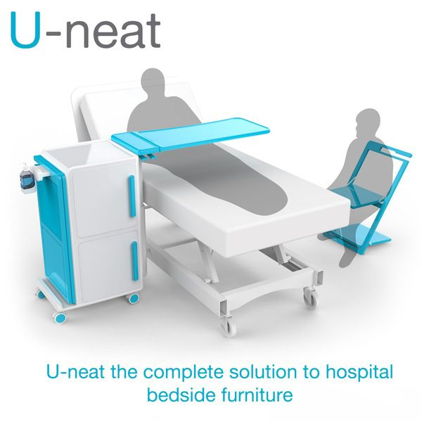 James Dyson Award National Winner From Ireland U Neat Hygiene In Hospitals Remains A High Importance To Hospital Furniture Hospital Bed Table Hospital Bed