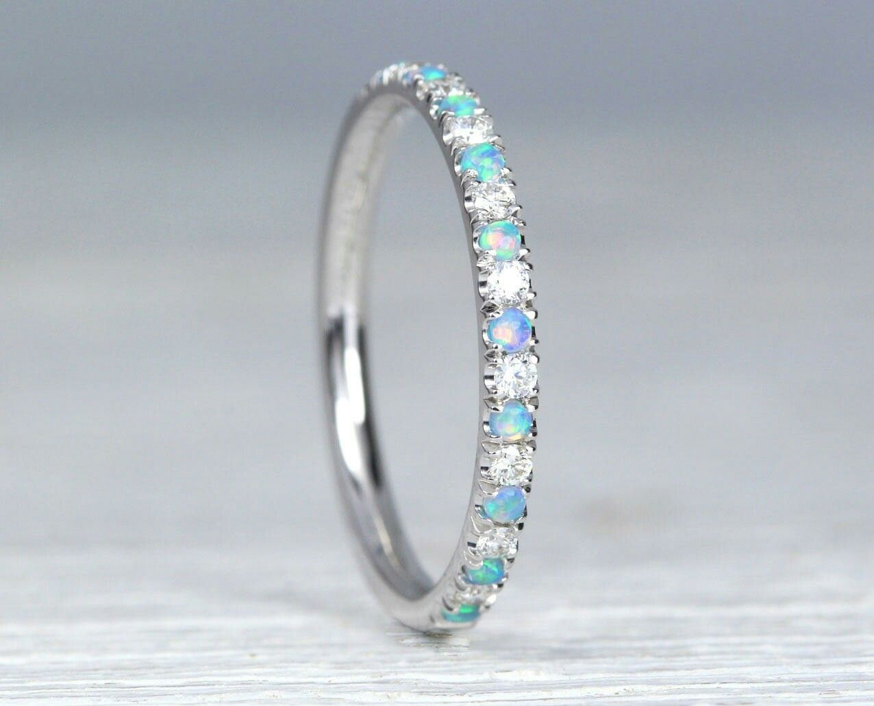Opal And Diamond Eternity Band Opal Ring Eternity 2 Mm Wedding Band Thin Opal Wedding Ring Opal Band Opal Stacking Ring Promise Ring Opal Wedding Rings Opal Band Eternity Band Diamond