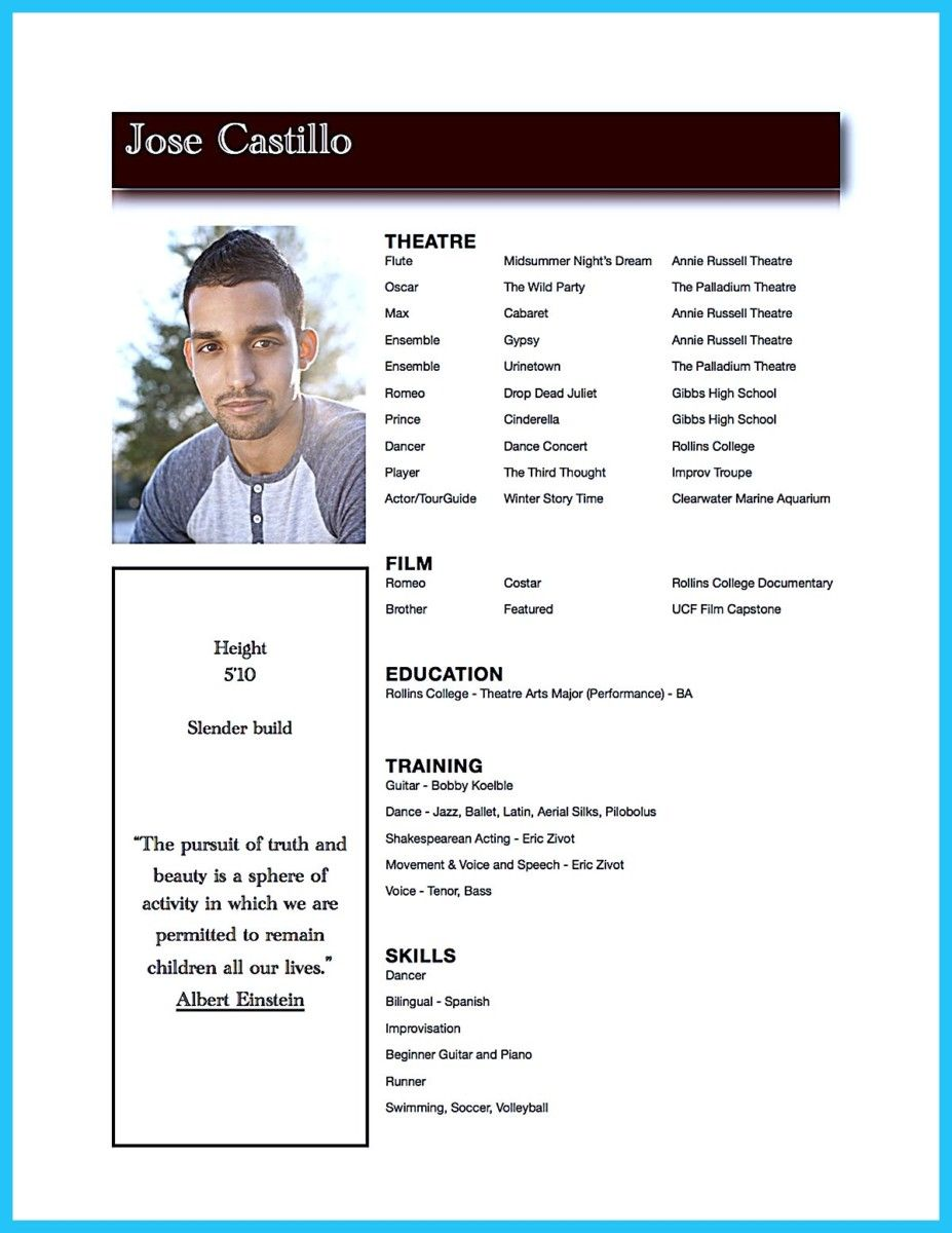 Nice Actor Resume Template To Boost Your Career  Resume Template