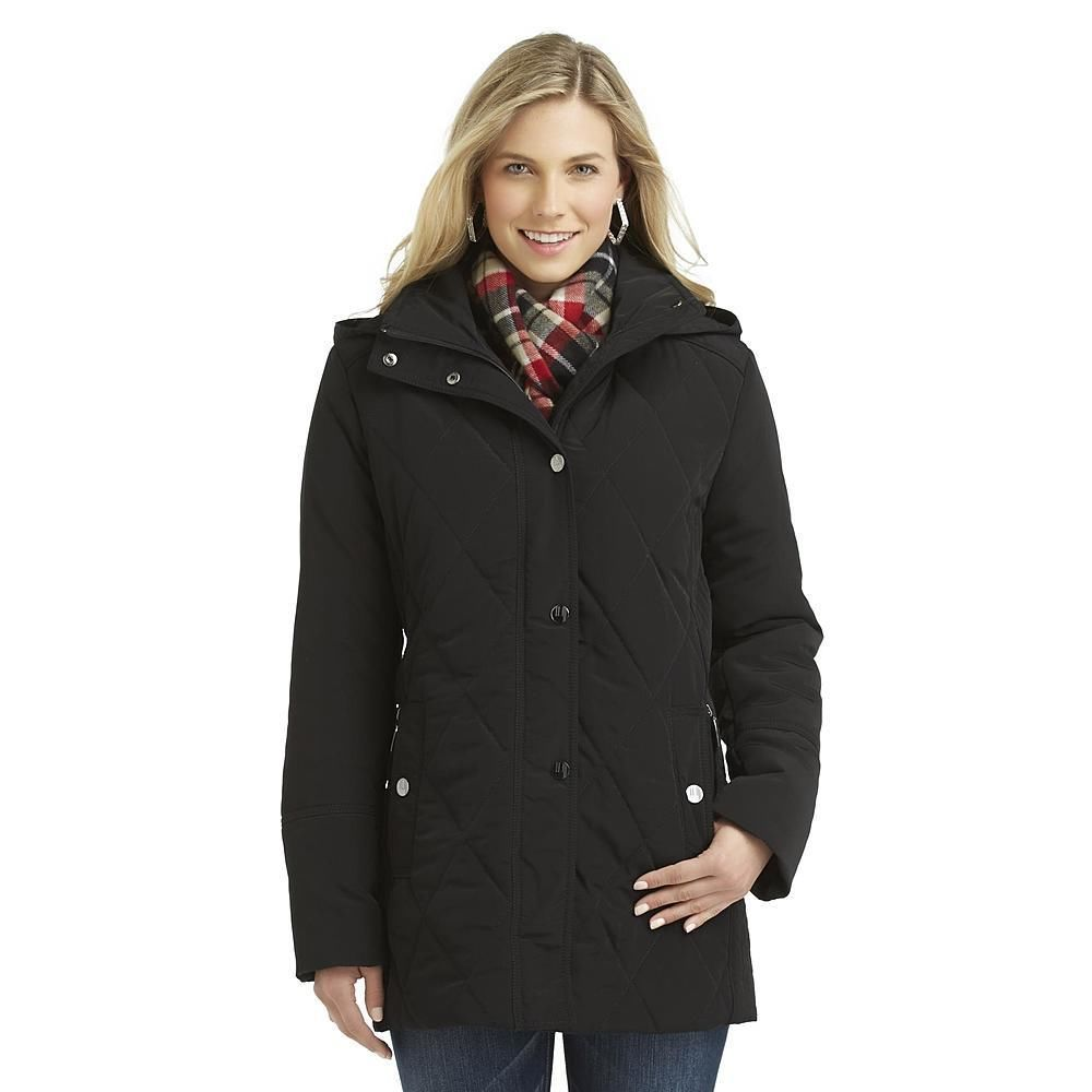 Covington Coat Quilted Hooded Jacket Scarf Black Polyester Women S Size L New Coat Jackets Hooded Jacket [ 1000 x 1000 Pixel ]