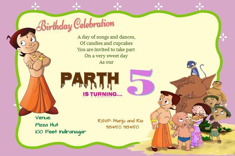 Invitation Card With Chhota Bheem Online Birthday