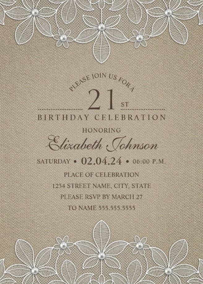 Lace and Pearls Country Burlap 21st Birthday Invitations Custom